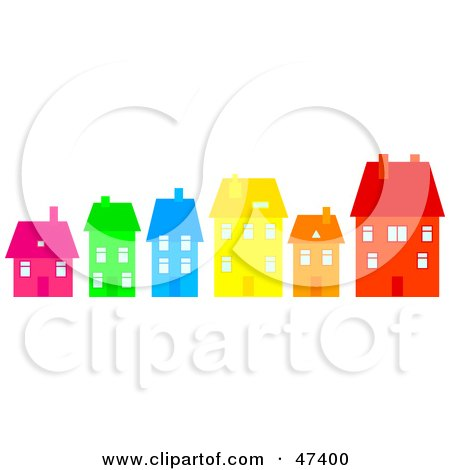 Royalty-Free (RF) Clipart Illustration of a Row Of Colorful Homes On A Street by Prawny