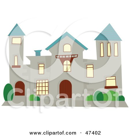 Royalty-Free (RF) Clipart Illustration of a Stone Mansion With A Blue Roof by Prawny