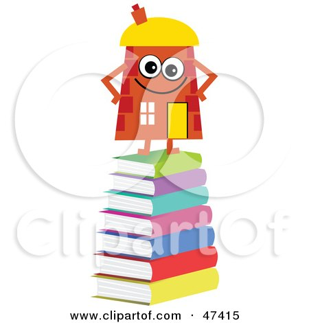 Royalty-Free (RF) Clipart Illustration of an Orange Cartoon House Character Standing on Books by Prawny