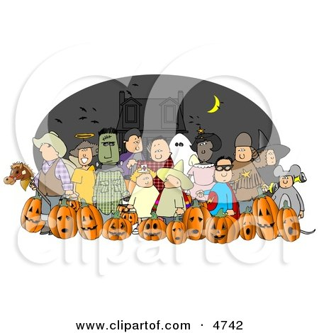 Nighttime Halloween Trick-or-Treaters Wearing Costumes and Standing Together as a Group Posters, Art Prints