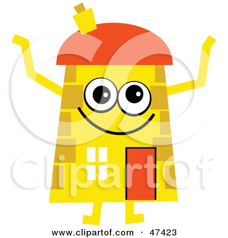 Royalty-Free (RF) Clipart Illustration of a Happy Yellow Cartoon House Character  by Prawny