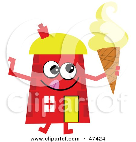 House  on Red Cartoon House Character With Ice Cream Posters  Art Prints By