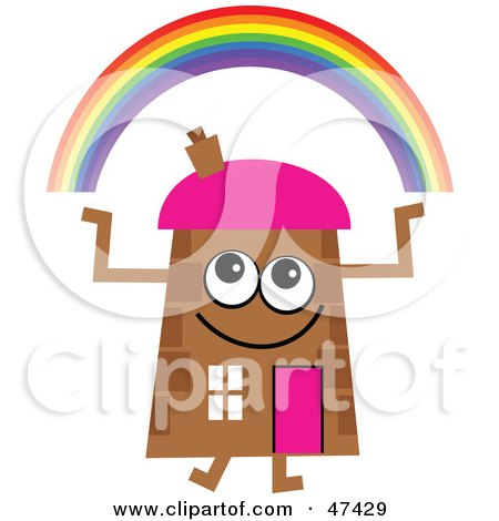 Royalty-Free (RF) Clipart Illustration of a Brown Cartoon House Character With a Rainbow by Prawny