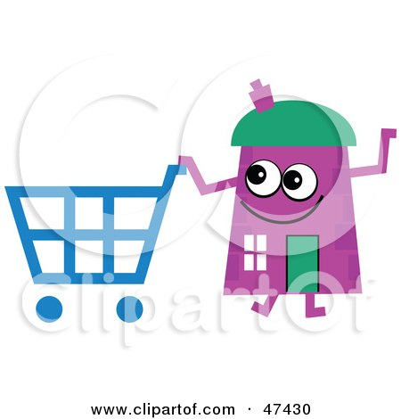 Royalty-Free (RF) Clipart Illustration of a Purple Cartoon House Character Shopping by Prawny