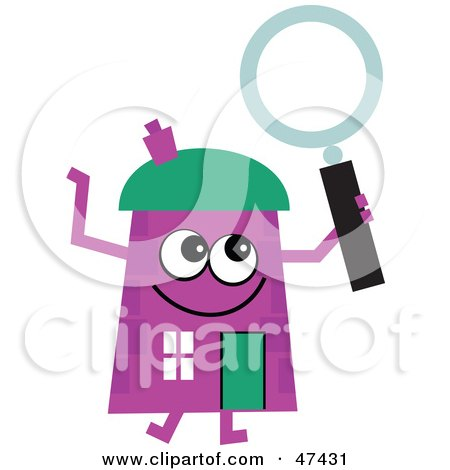 Royalty-Free (RF) Clipart Illustration of a Purple Cartoon House Character With a Magnifying Glass by Prawny