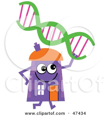 Royalty-Free (RF) Clipart Illustration of a Purple Cartoon House Character With DNA by Prawny