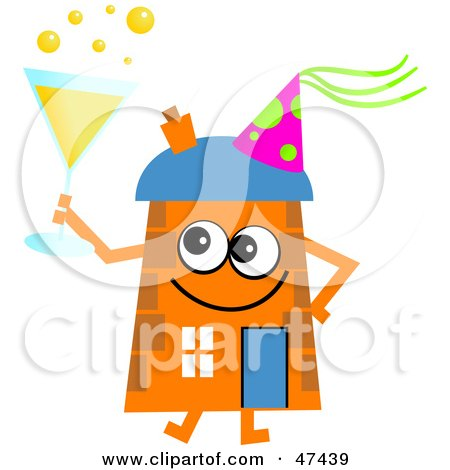 Royalty-Free (RF) Clipart Illustration of an Orange Cartoon House Character Drinking Bubbly at a Party by Prawny