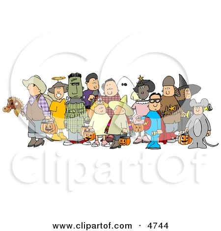Group of Adults and Children Wearing Halloween Costumes Clipart by djart