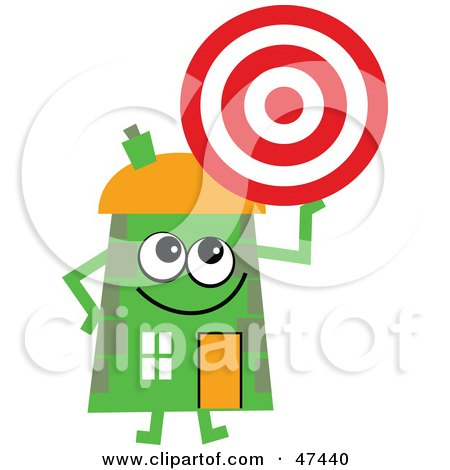 Royalty-Free (RF) Clipart Illustration of a Green Cartoon House Character Holding A Target by Prawny