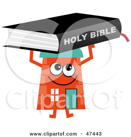 Royalty-Free (RF) Clipart Illustration of an Orange Cartoon House Character With a Holy Bible by Prawny