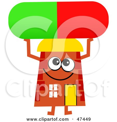 Royalty-Free (RF) Clipart Illustration of an Orange Cartoon House Character Holding up a Pill by Prawny
