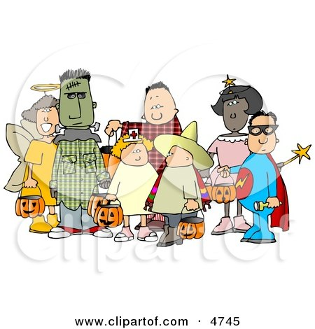 Group of Male and Female Halloween Trick-or-treaters Clipart by djart