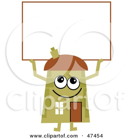 Royalty-Free (RF) Clipart Illustration of a Green Cartoon House Character With a Blank Sign by Prawny