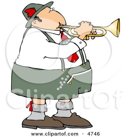 German Trumpet Player Wearing Cotton Lederhosen Clothing Posters, Art Prints