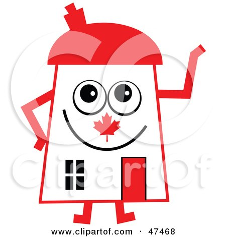 Royalty-Free (RF) Clipart Illustration of a Patriotic Canadian Flag Cartoon House Character  by Prawny