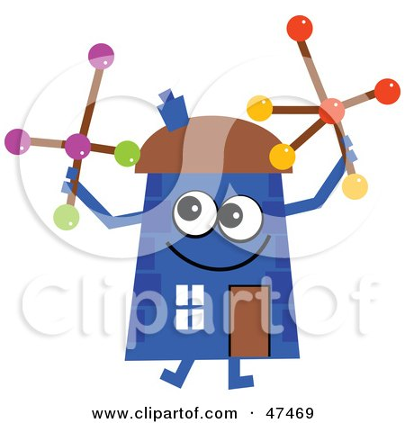 Royalty-Free (RF) Clipart Illustration of a Blue Cartoon House Character Playing With Jacks by Prawny