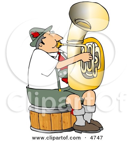 German Tuba Player Practicing By Himself Clipart by djart