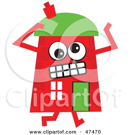 Royalty-Free (RF) Clipart Illustration of a Frustrated Red Cartoon House Character  by Prawny