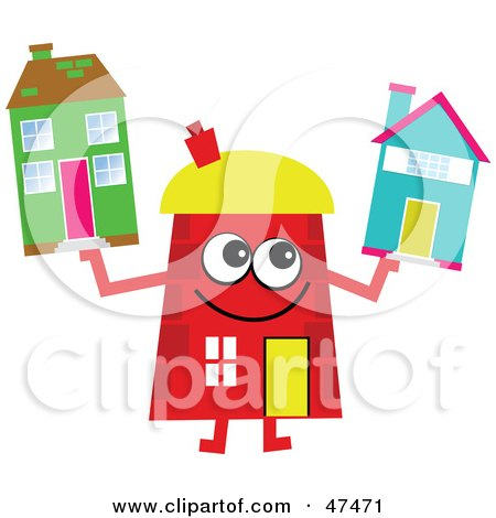 Royalty-Free (RF) Clipart Illustration of a Red Cartoon House Character Holding Homes by Prawny