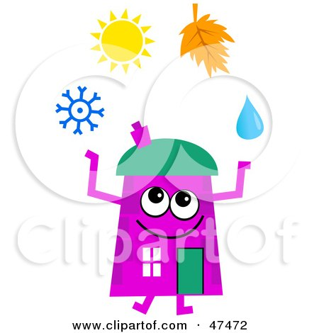 Royalty-Free (RF) Clipart Illustration of a Purple Cartoon House Character Juggling the Four Seasons by Prawny