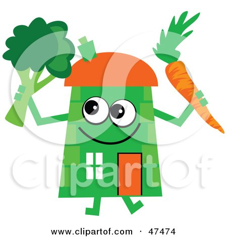 Royalty-Free (RF) Clipart Illustration of a Green Cartoon House Character With A Carrot And Broccoli by Prawny