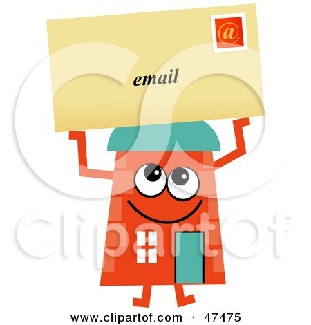 Royalty-Free (RF) Clipart Illustration of an Orange Cartoon House Character With Email by Prawny
