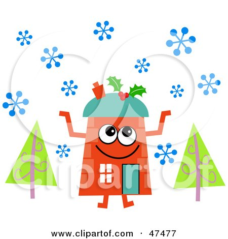 Royalty-Free (RF) Clipart Illustration of an Orange Cartoon House Character in the Snow by Prawny