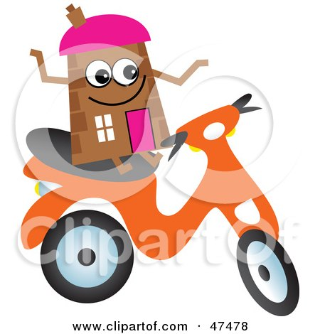 Royalty-Free (RF) Clipart Illustration of a Brown Cartoon House Character on a Scooter by Prawny