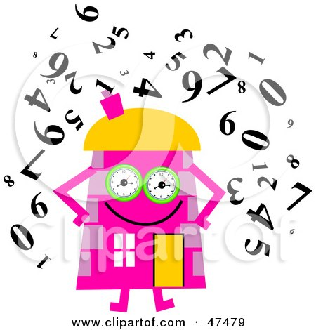 Royalty-Free (RF) Clipart Illustration of a Pink Cartoon House Character Surrounded by Numbers by Prawny