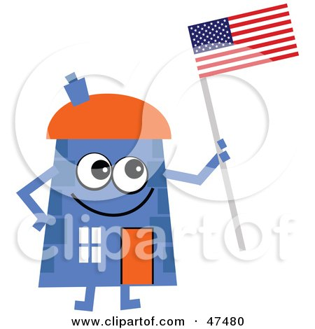 Royalty-Free (RF) Clipart Illustration of a Blue Cartoon House Character Holding An American Flag by Prawny