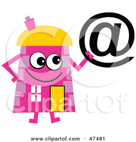Royalty-Free (RF) Clipart Illustration of a Pink Cartoon House Character Holding An At Symbol by Prawny