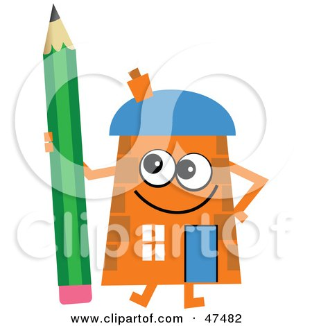 Royalty-Free (RF) Clipart Illustration of an Orange Cartoon House Character With a Pencil by Prawny