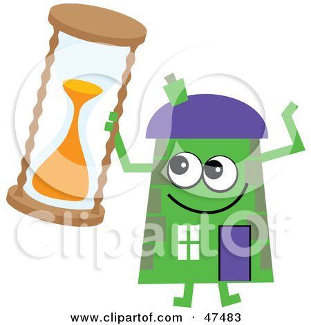 Royalty-Free (RF) Clipart Illustration of a Green Cartoon House Character With an Hourglass by Prawny