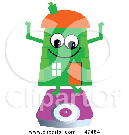Royalty-Free (RF) Clipart Illustration of a Green Cartoon House Character on a Scale by Prawny