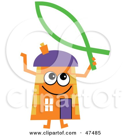 Royalty-Free (RF) Clipart Illustration of an Orange Cartoon House Character With a Christian Fish by Prawny