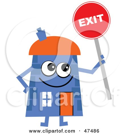 Royalty-Free (RF) Clipart Illustration of a Blue Cartoon House Character Holding An Exit Sign by Prawny