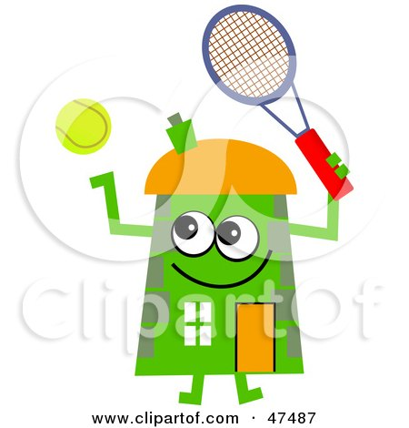 Royalty-Free (RF) Clipart Illustration of a Green Cartoon House Character Playing Tennis by Prawny