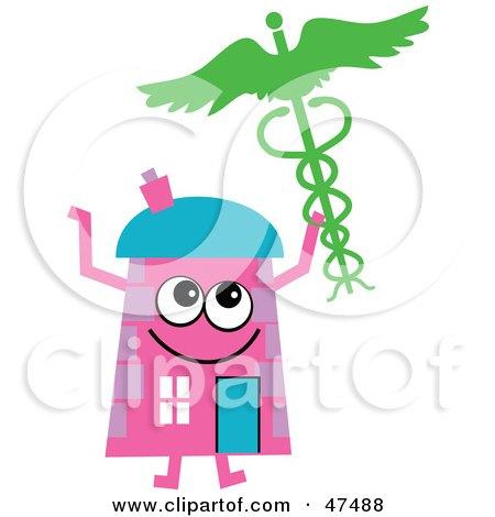 Pink Cartoon House Character Holding A Medical Caduceus Posters, Art Prints