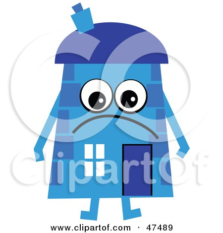 Royalty-Free (RF) Clipart Illustration of a Grumpy Blue Cartoon House Character  by Prawny