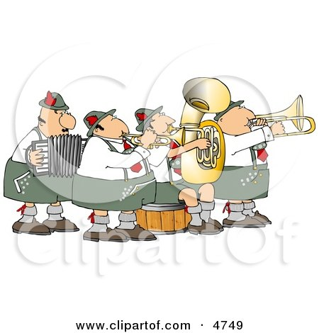 German Band Playing Musical Instruments Together Clipart by Dennis Cox