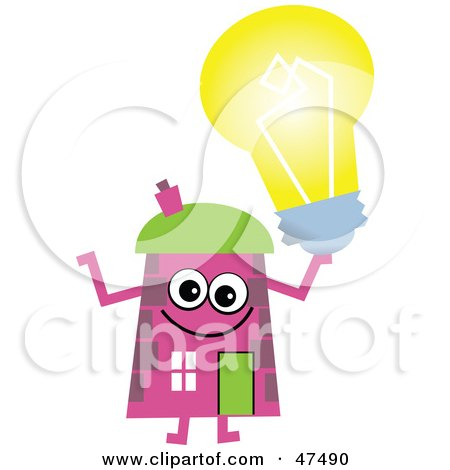 Royalty-Free (RF) Clipart Illustration of a Pink Cartoon House Character Holding A Light Bulb by Prawny