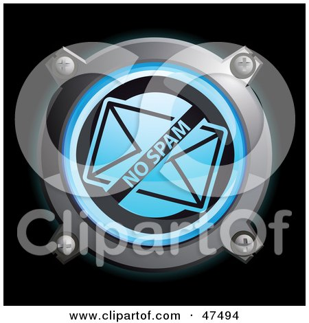 Royalty-Free (RF) Clipart Illustration of a Glowing Blue No Spam Envelope Button by Frog974