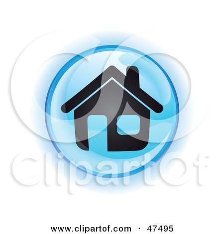 Royalty-Free (RF) Clipart Illustration of a Blue Home Button by Frog974