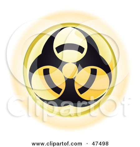 Royalty-Free (RF) Clipart Illustration of a Yellow Biohazard Button by Frog974