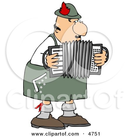 Male German Accordion Player Playing Music By Himself Clipart by djart