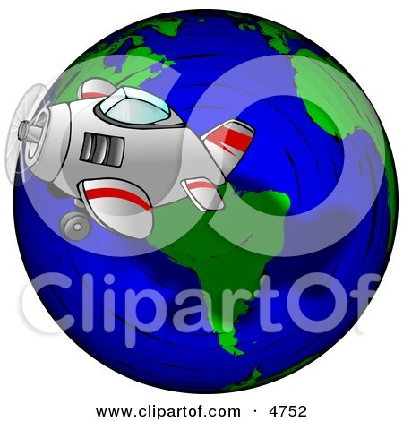 Traveling Concept of a Plane Flying Around the Globe Clipart by Dennis Cox