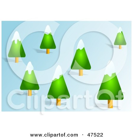 Royalty-Free (RF) Clipart Illustration of Snow Flocked Evergreen Trees On A Hillside by Prawny