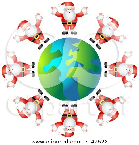 Royalty-Free (RF) Clipart Illustration of a Globe Surrounded By Santas In Suits by Prawny