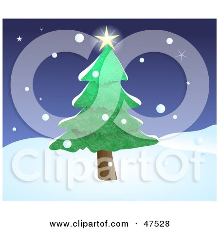 Royalty-Free (RF) Clipart Illustration of a Bright Star Shining On Top Of An Evergreen Tree In Winter by Prawny