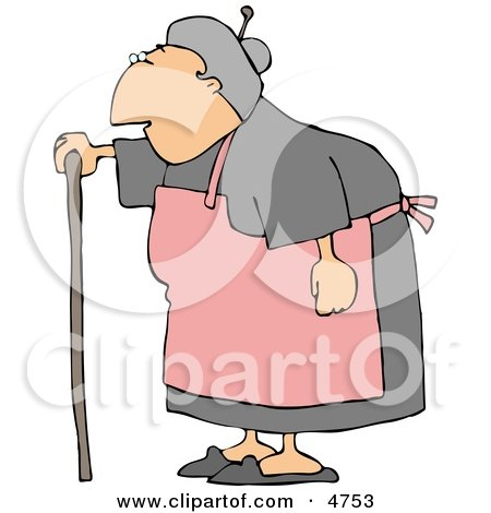 Female Senior Citizen Wearing an Apron and Using a Walking Stick Clipart by djart